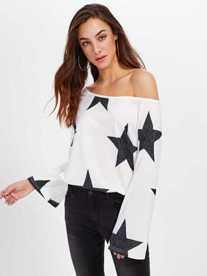 Asymmetric Shoulder Star Print Blouse
