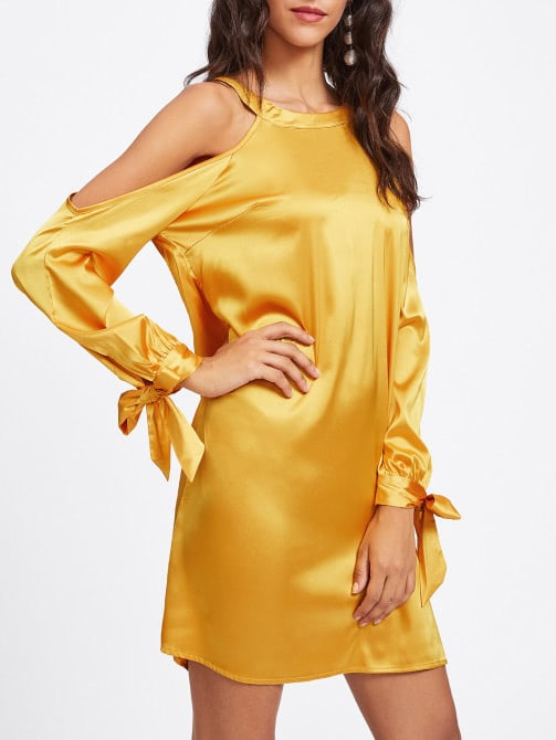 Open Shoulder Tied Cuff Cutout Back Dress
