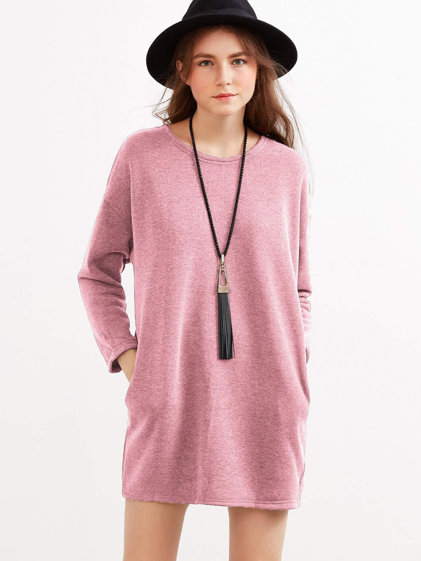 Drop Shoulder Pockets Dress