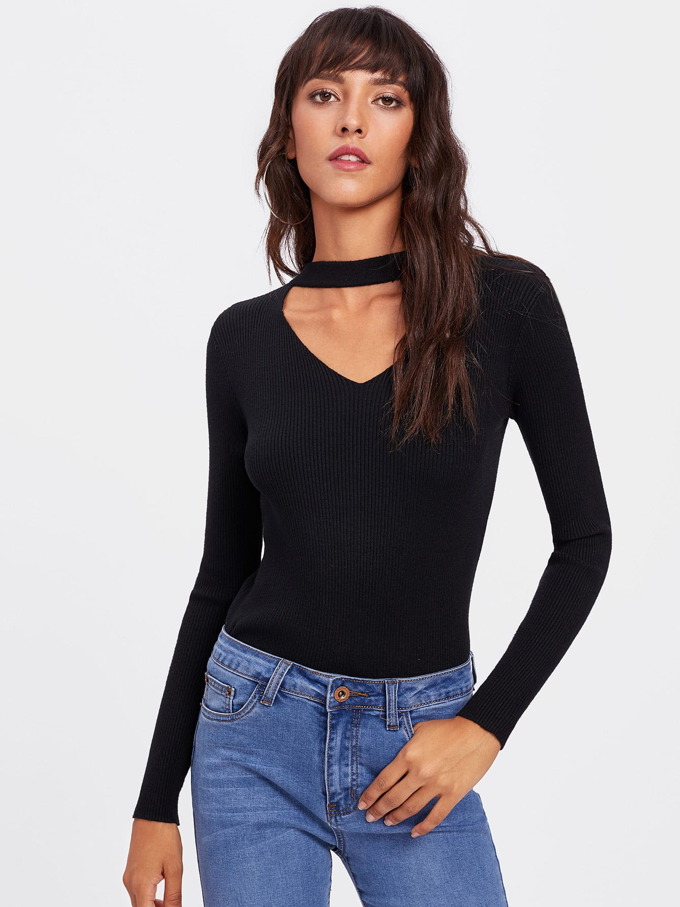 V Cut Neck Ribbed Tee laddering cut v neck solid tee