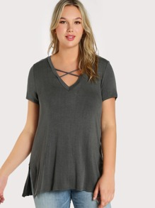 Criss Cross Front Solid Top GREY