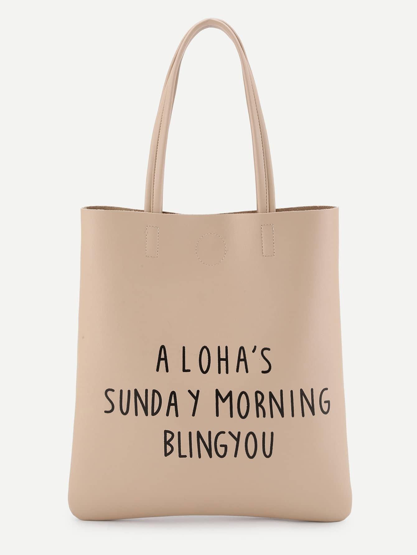 Slogan Print Minimalist Tote Bag куплю ваз 21112 трех дверную