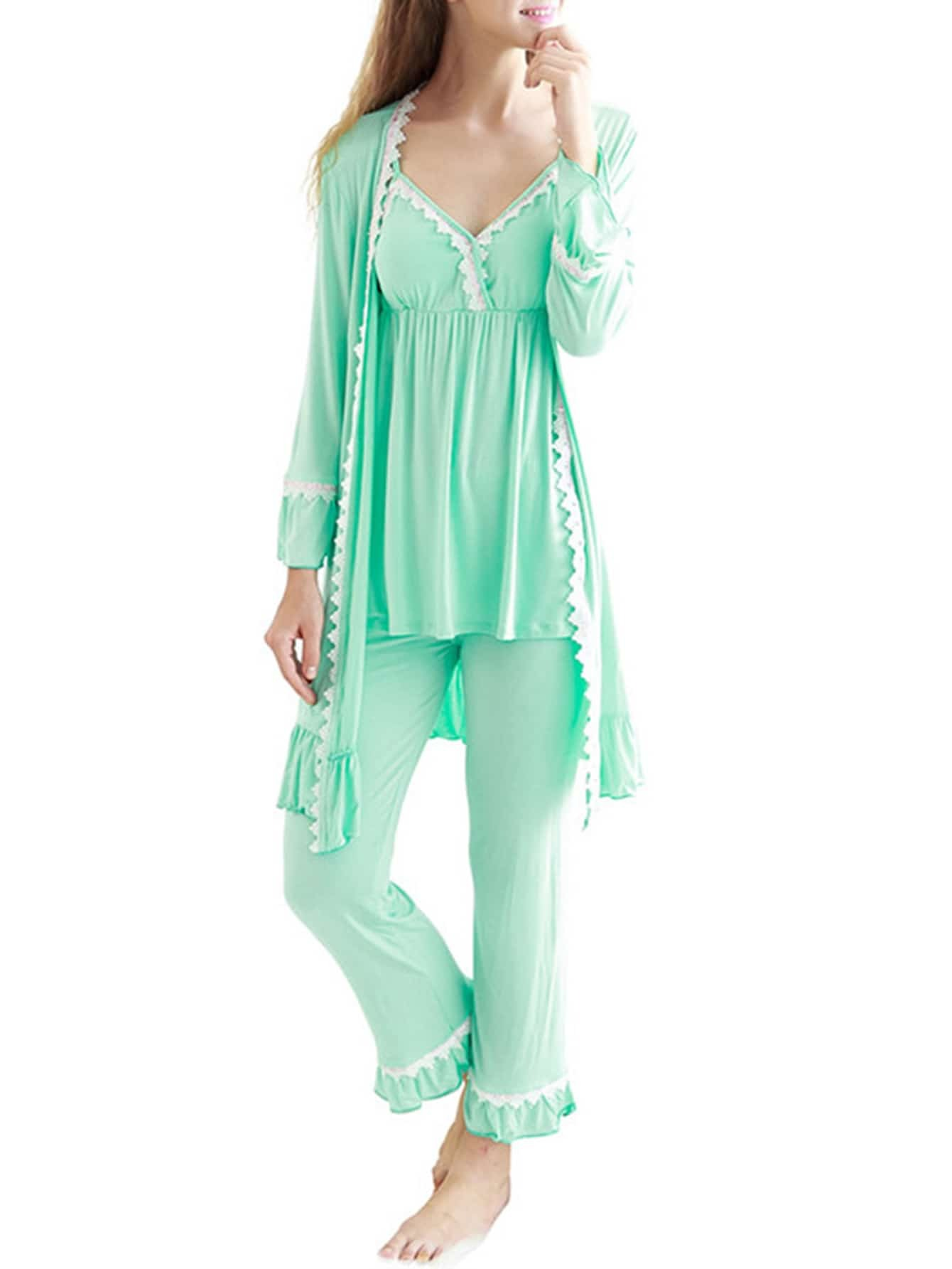 Contrast Lace Frill Trim Cami Pj Set With Robe tiered frill trim lace up cami top