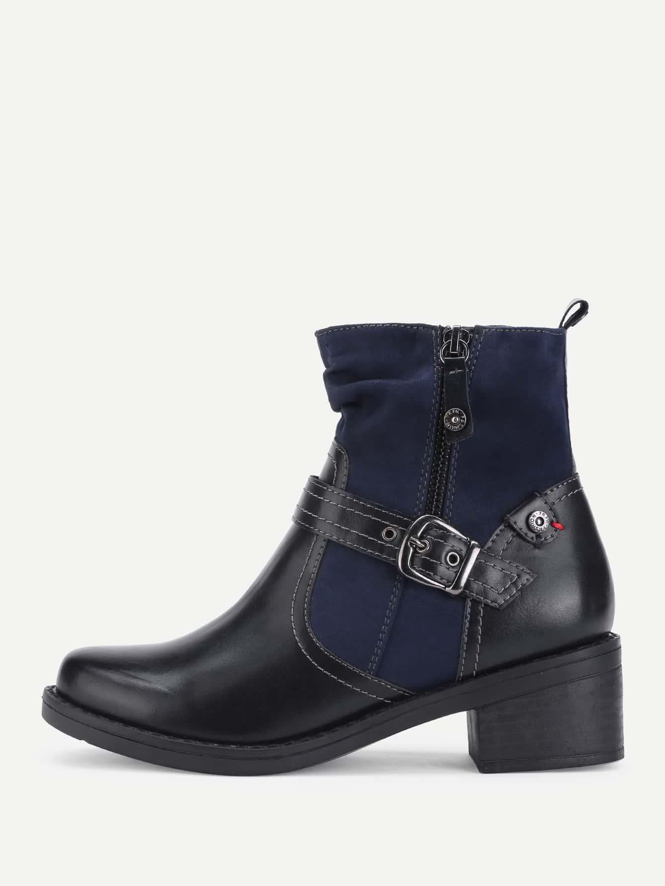 Side Zipper Block Heeled Ankle Boots inew телефон в воронеже где