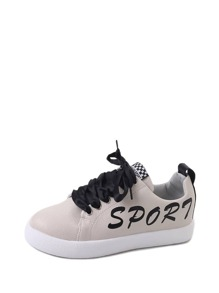 Letter Print Lace Up Sneakers