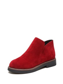Round Toe Suede Ankle Boots
