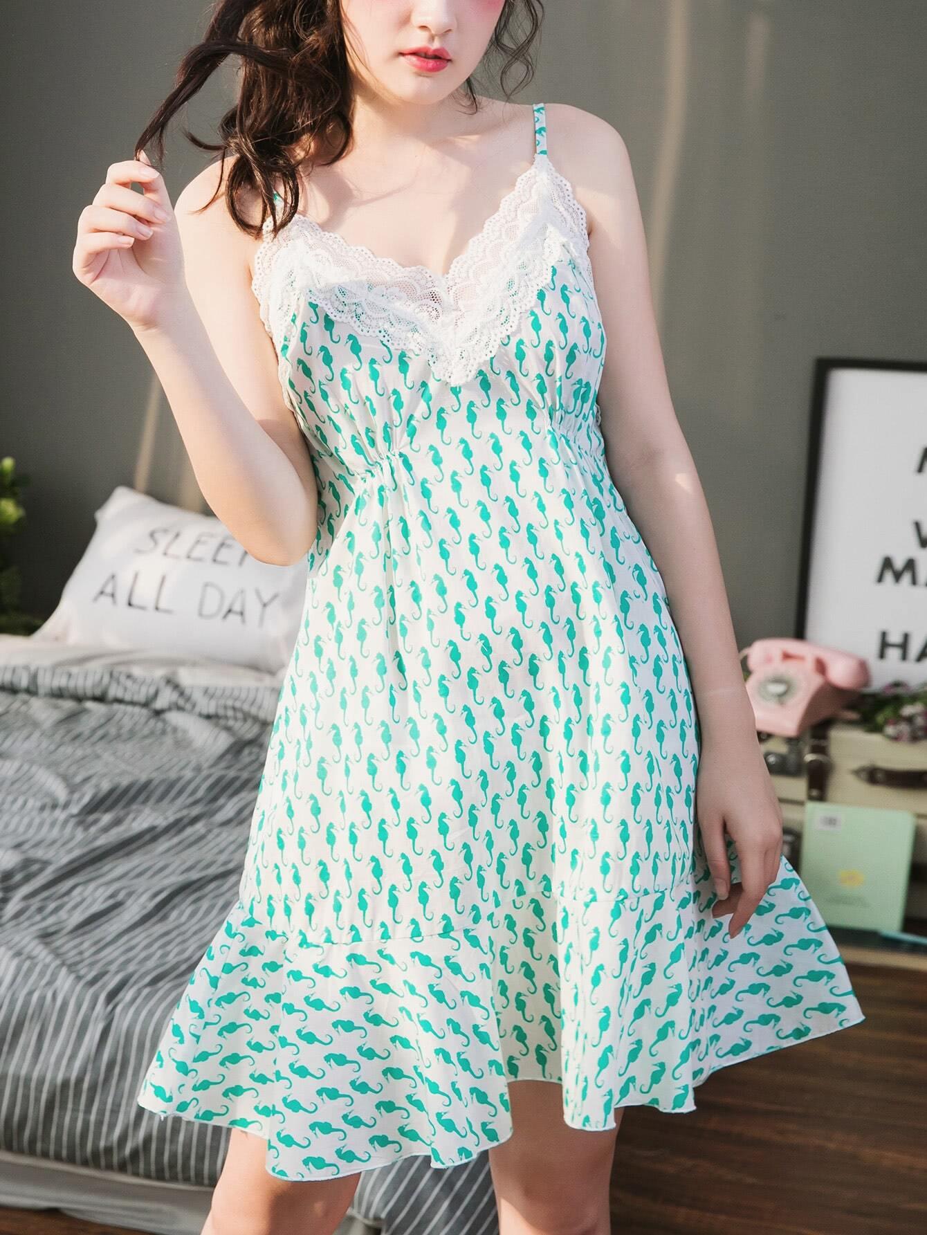 Seamless Pattern Lace Trim Frill Hem Cami Dress tiered frill trim lace up cami top