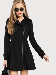Long Sleeve Longline Jacket Dress BLACK