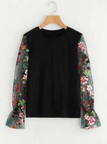 Embroidered Mesh Sleeve Sweatshirt