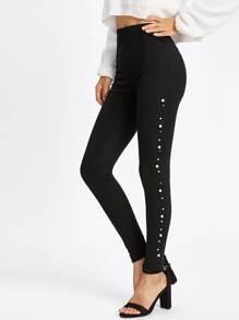 Pearl Beading Side Leggings