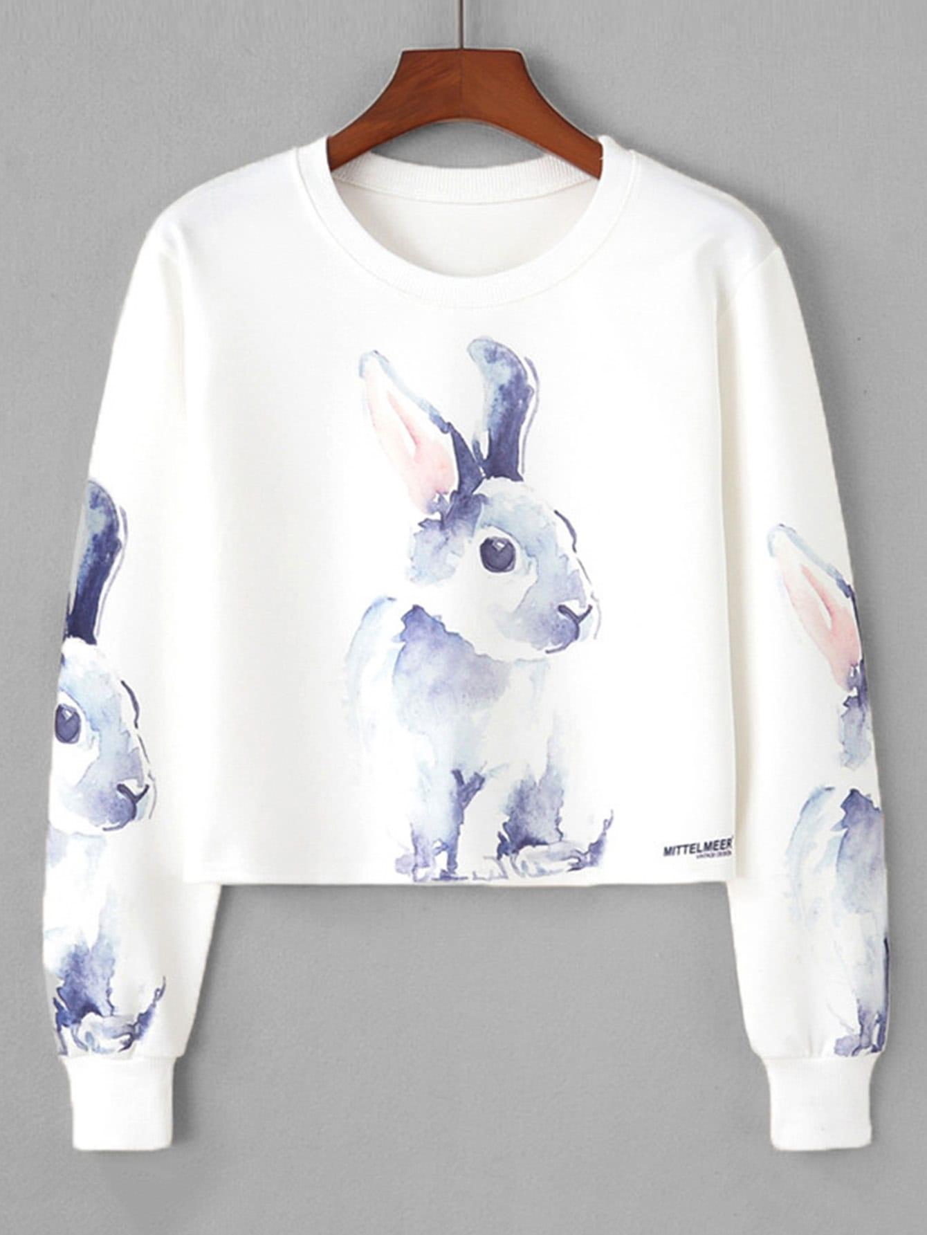 Rabbit Print Crop Sweatshirt rabbit print pullover
