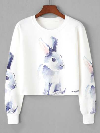 Sweat-shirt court imprimé lapin