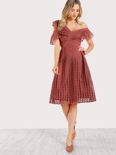 Eyelet Overlay Dress ROSE
