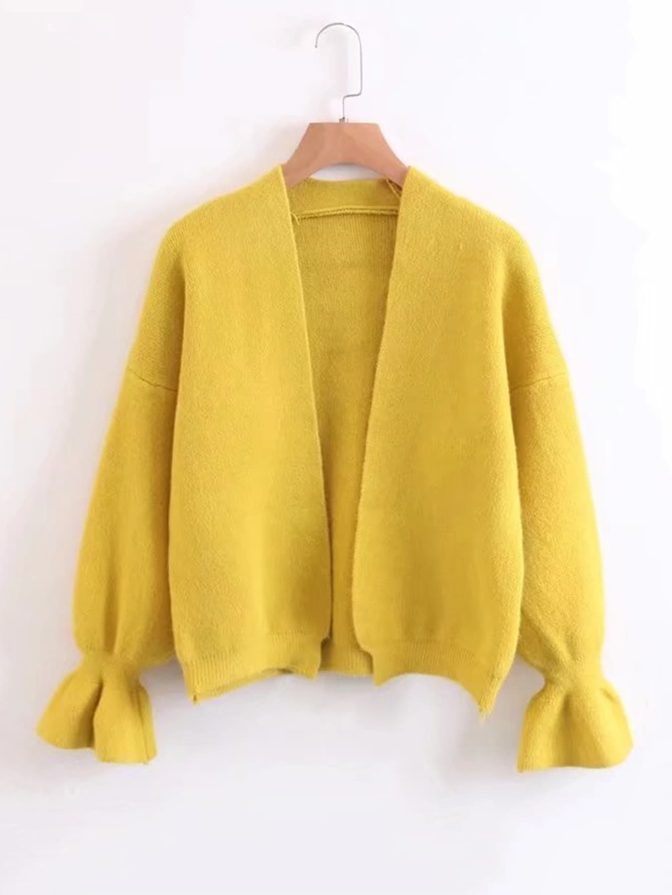 Fluted Sleeve Open Front Cardigan -SheIn(Sheinside)