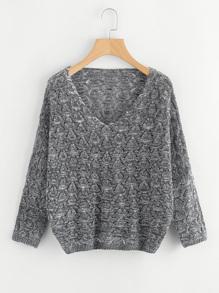 V Neckline Open Knit Sweater