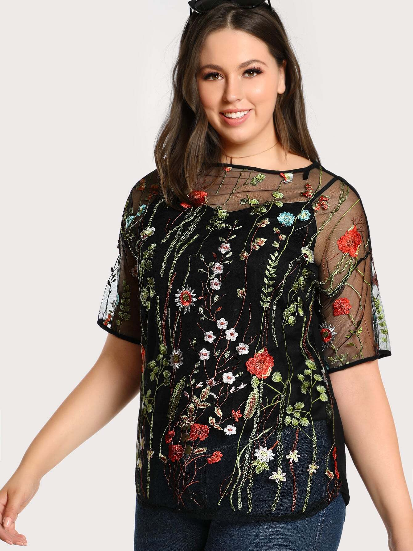 Botanical Embroidered 2 In 1 Mesh Top