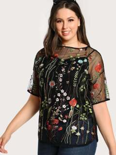 Plus Botanical Embroidered 2 In 1 Mesh Top