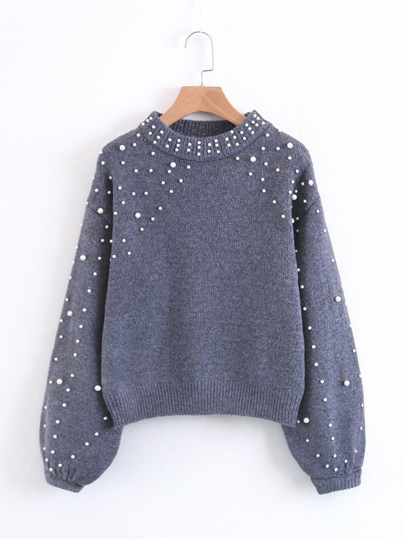 Faux Pearl Embellished Lantern Sleeve Sweater
