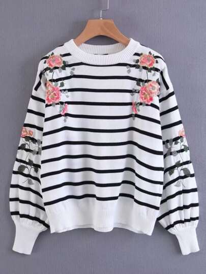 Flower Embroidery Striped Sweater