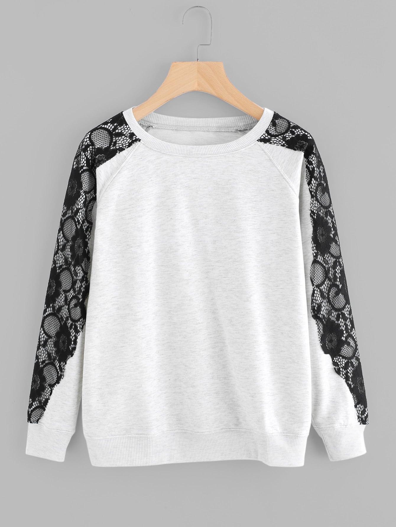 Купить Контрастный модный свитшот с кружевной вставкой, null, SheIn