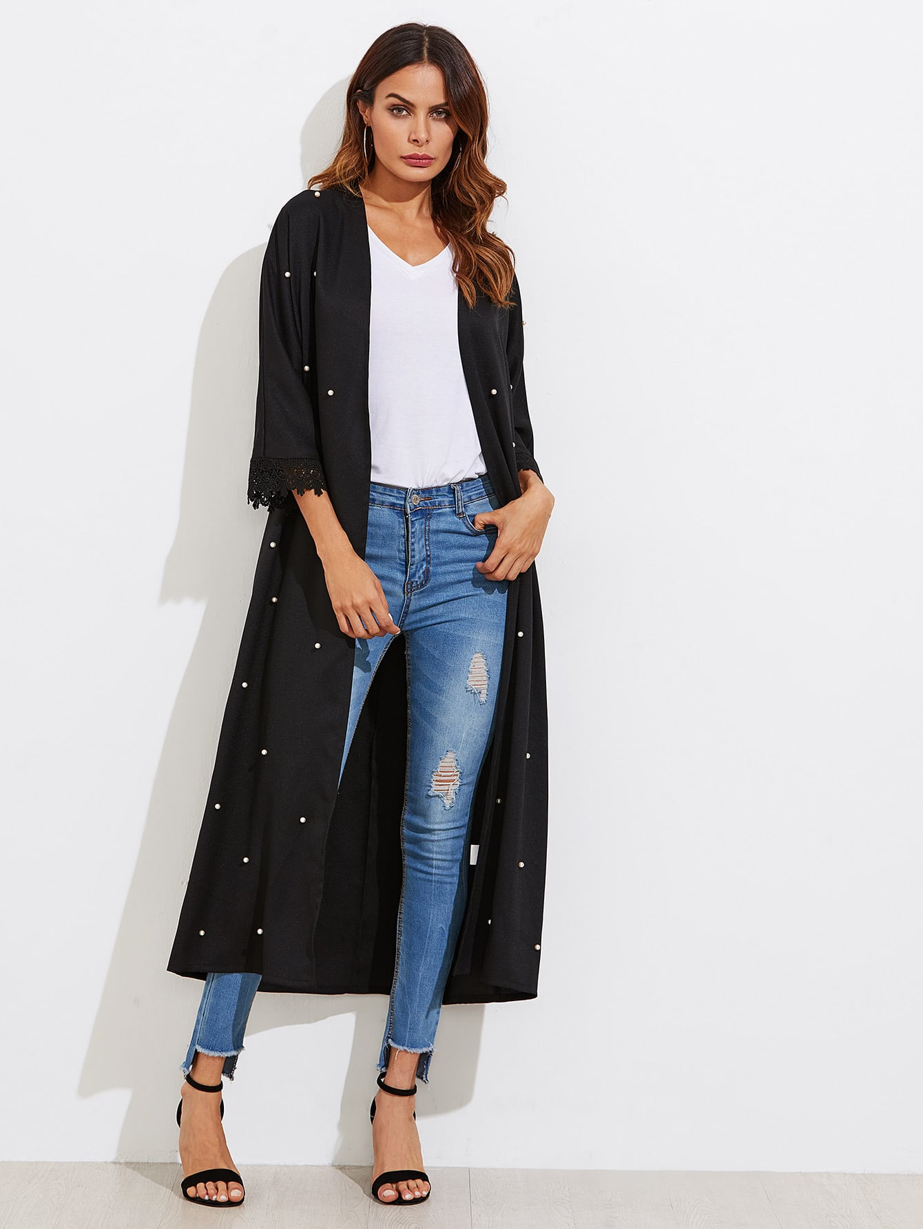 Pearl Embellished Scallop Lace Cuff Belted Coat цена и фото