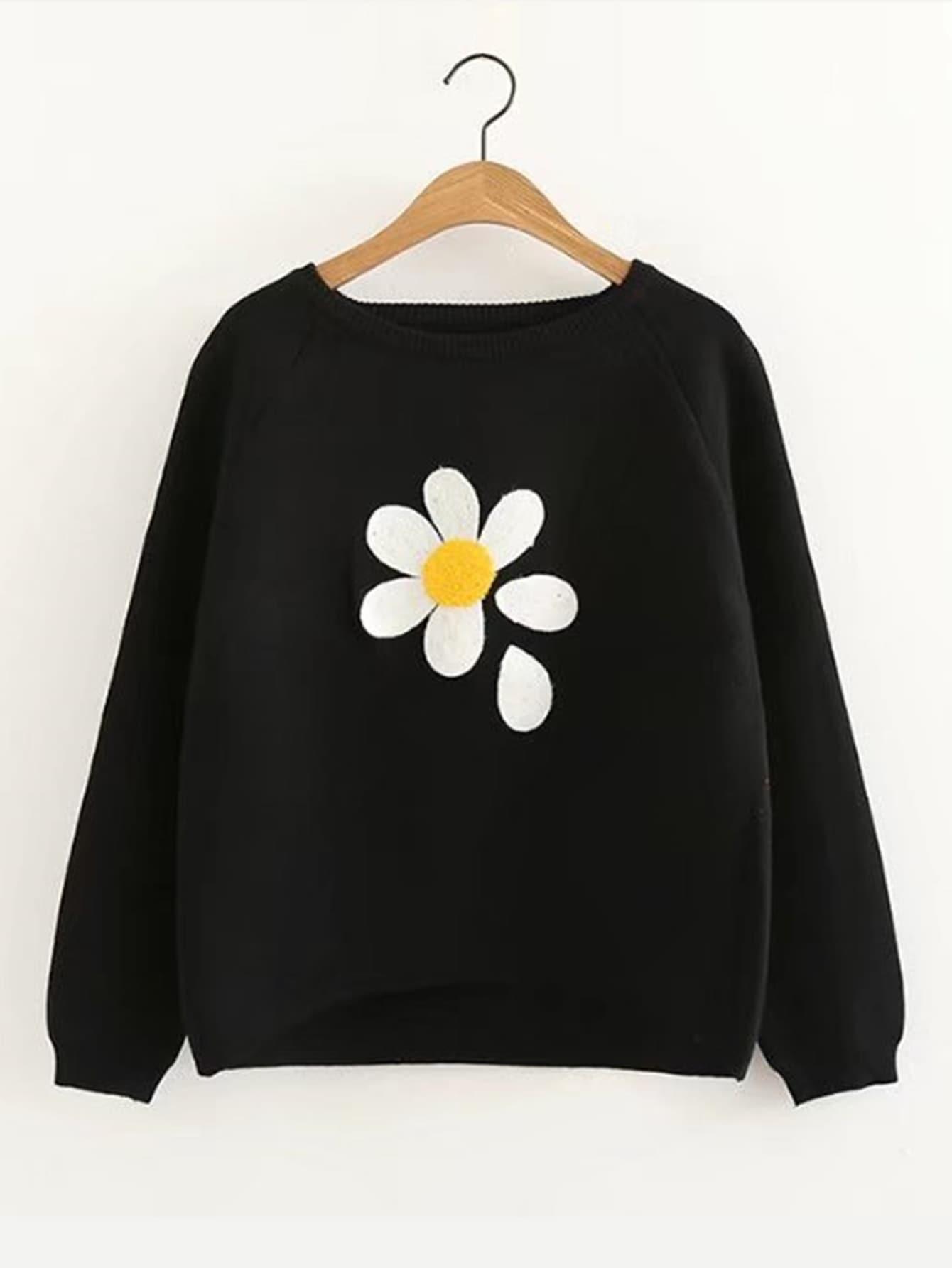Pullover mit Raglanärmeln, abfallendem Saum und Blumen