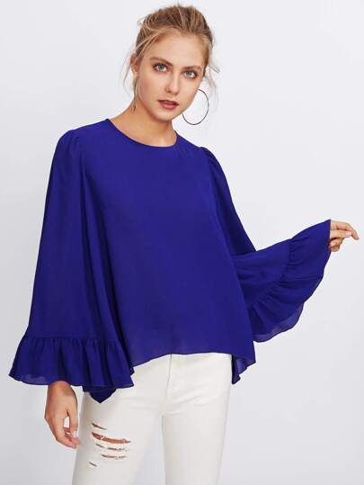 Keyhole Back Exaggerate Fluted Sleeve Top