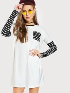 Stripe Pocket Front Ringer Tee Dress