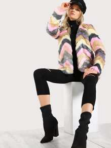 Faux Fur Multi Color Coat PINK