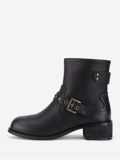 Buckle Strap Block Heeled Boots