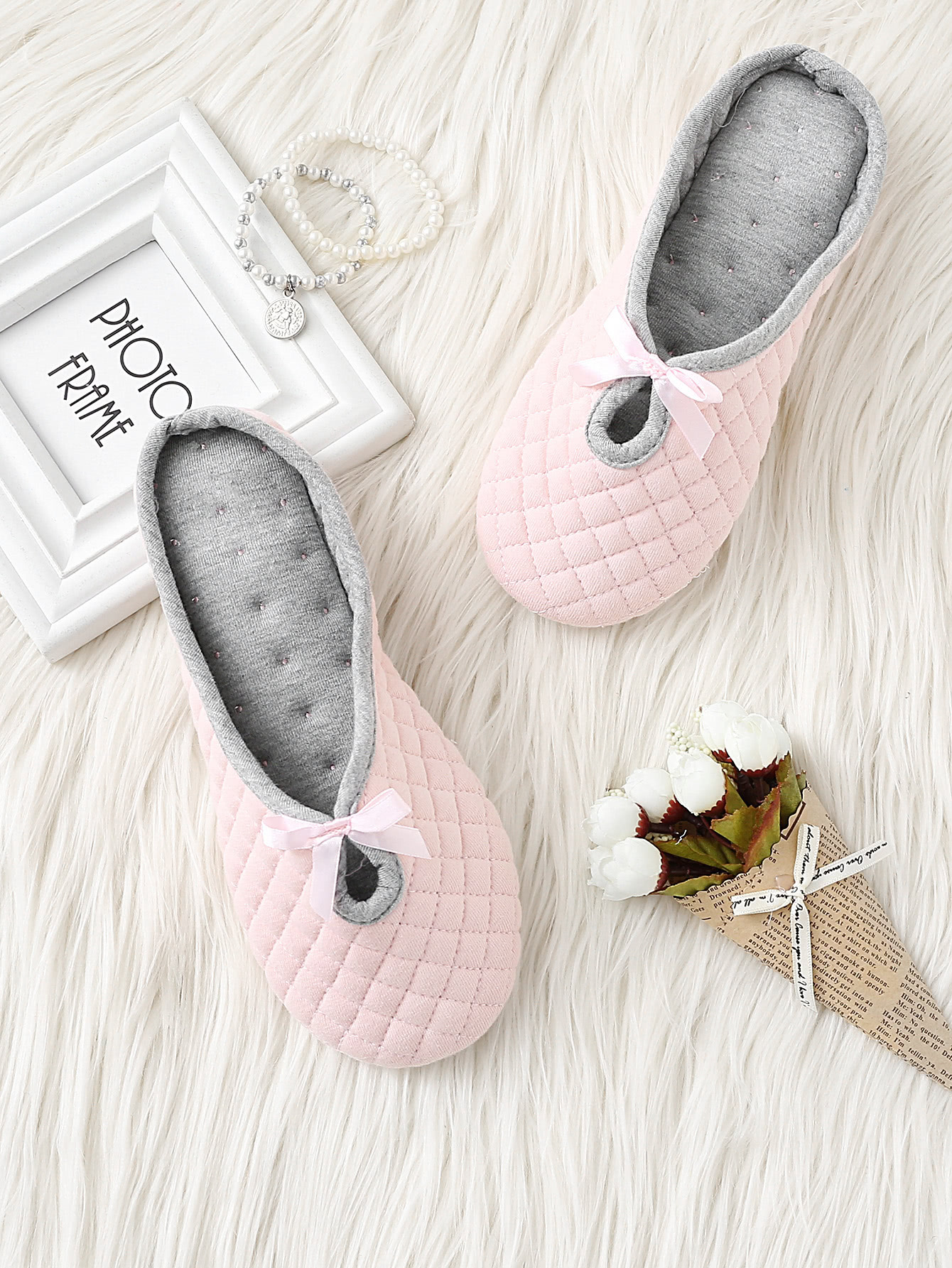 Image of Bow Detail Quilted Slippers