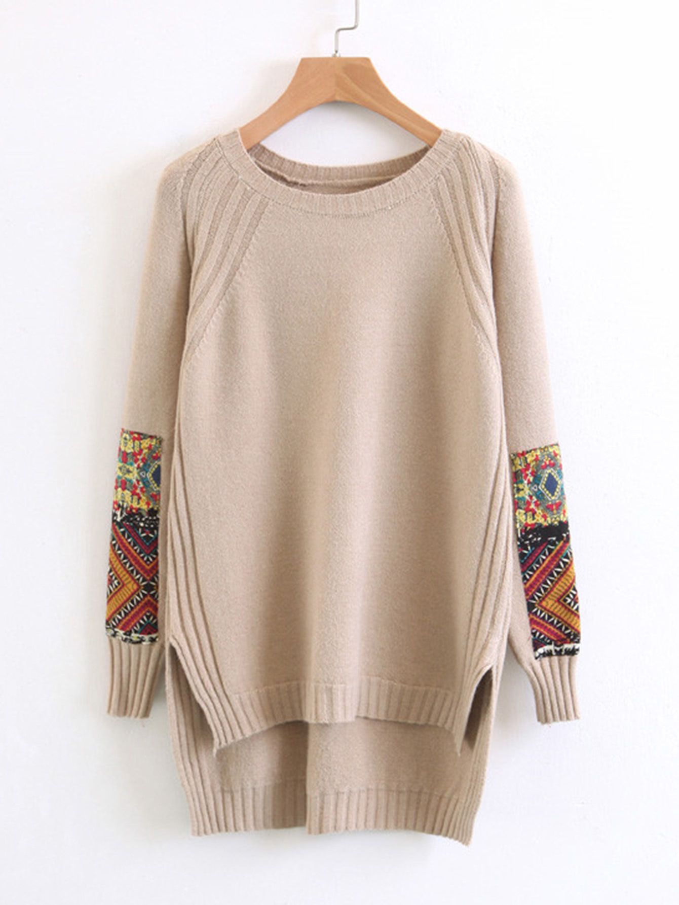 Купить Контрастный патч с высоким низким свитером, null, SheIn