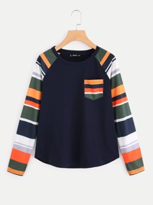 Contrast Striped Raglan Sleeve And Pocket Top