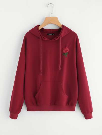 Embroidery Kangaroo Pocket Front Drop Shoulder Hoodie