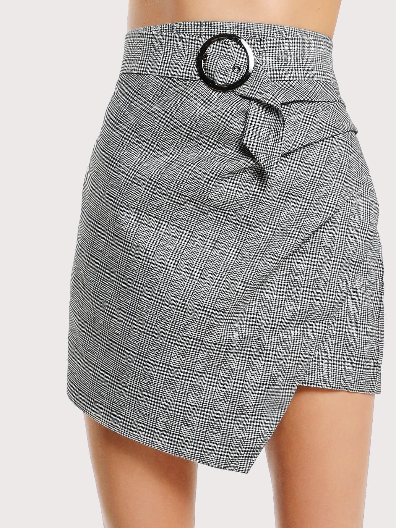 Asymmetric Hem Belted Plaid Skirt