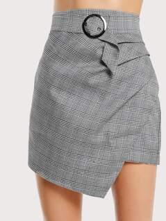 Asymmetric Hem Belted Plaid Skirt GREY