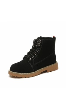 Suede Lace Up Flatform Ankle Boots