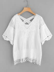 Crisscross Back Lace Insert Embroidered Top