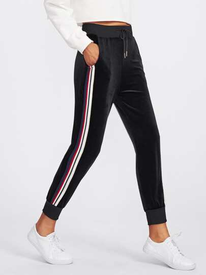 Side Striped Drawstring Waist Velvet Sweatpants