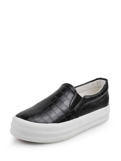 Round Toe PU Slip On Sneakers