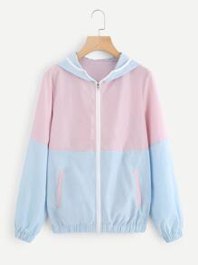 Color Block Zip Up Hooded Jacket