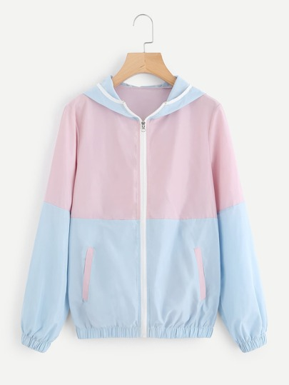 Color Block Zip Up Hooded Jacket