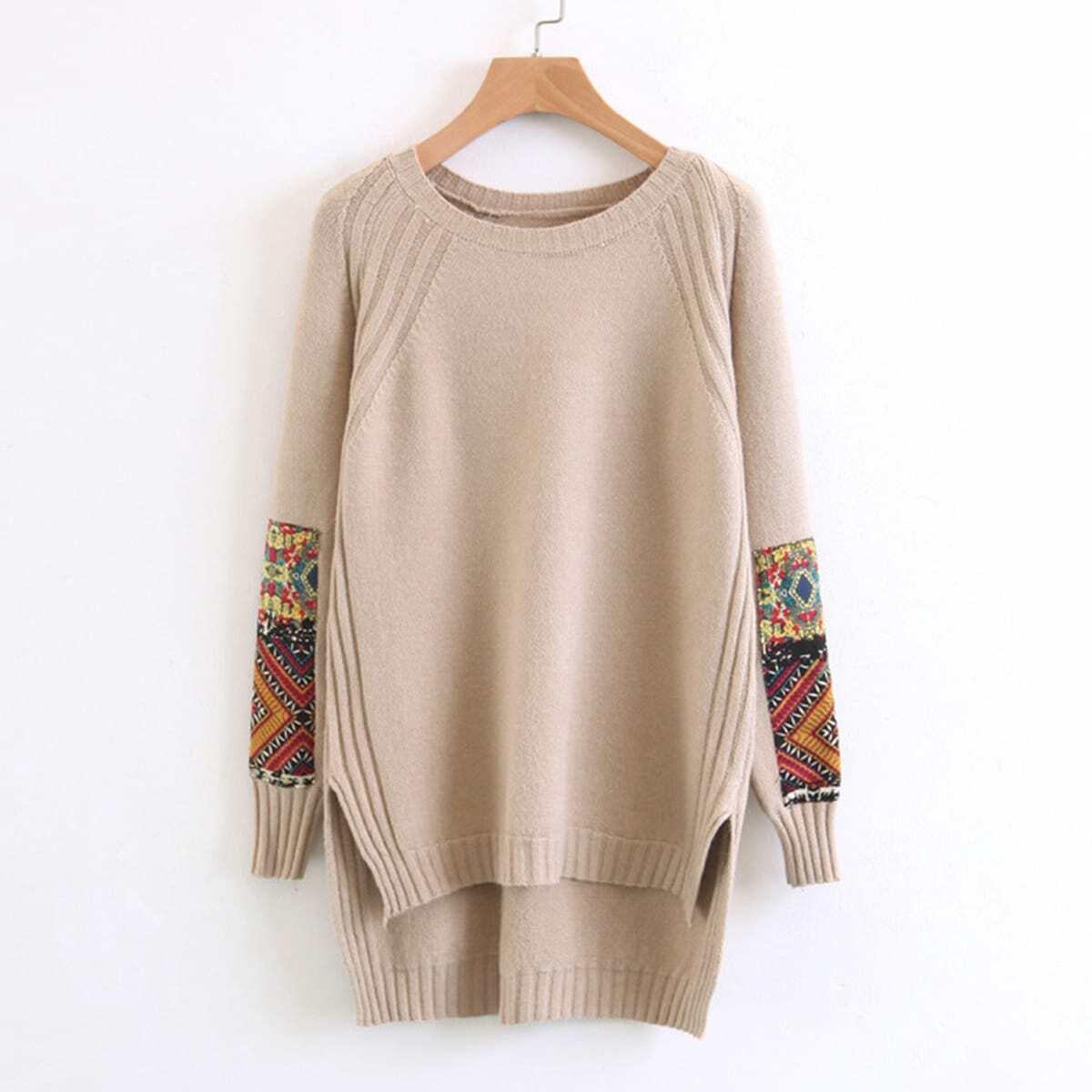 Contrast mouwen sweater