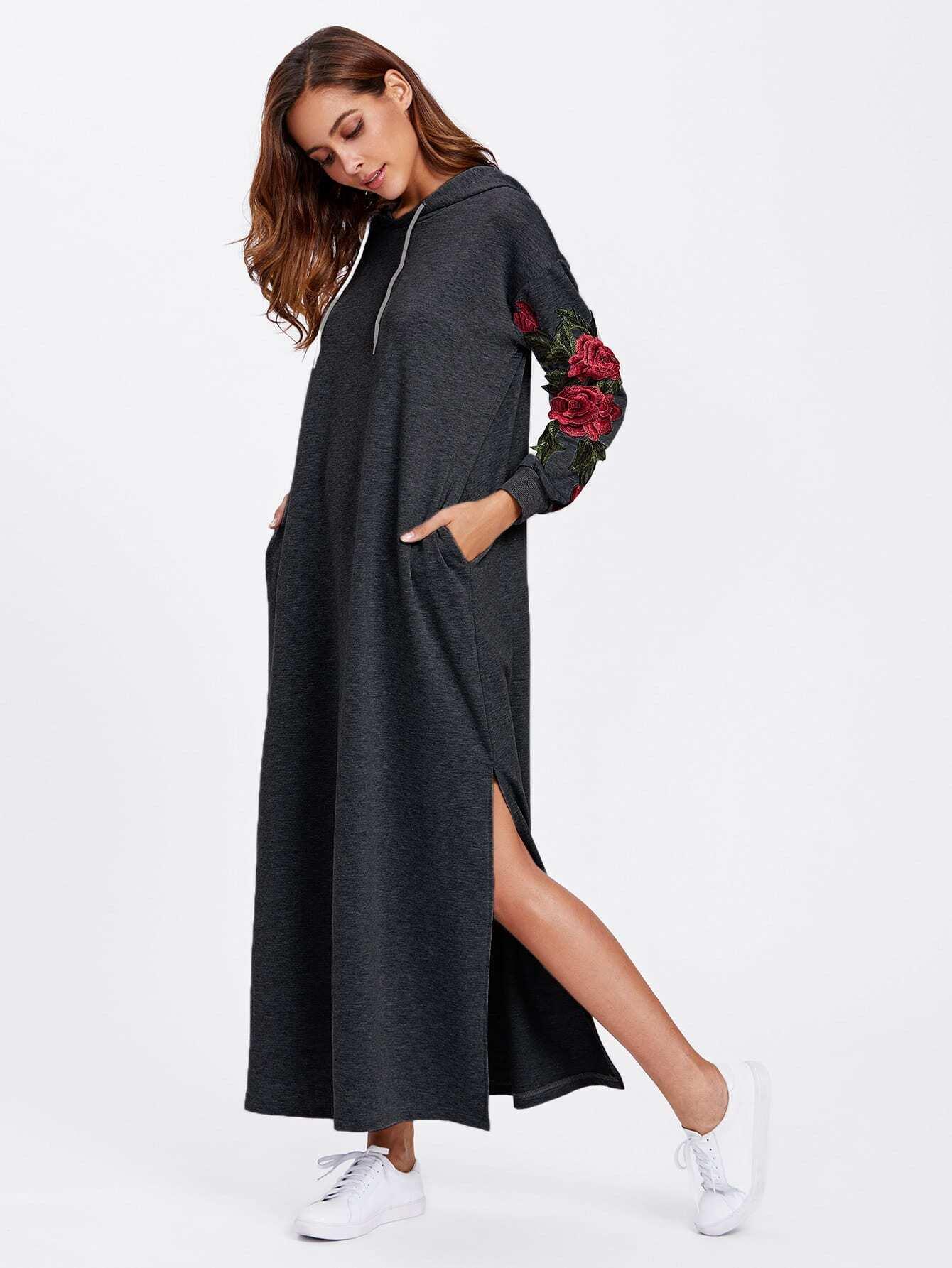 Split Side Applique Hooded Dress embroidered rose applique side split belt dress