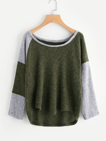Color Block Dip Hem Sweater