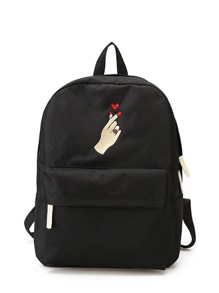 Love Gesture Embroidered Canvas Backpack