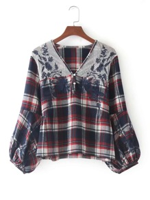 Mesh Panel Embroidered Check Blouse