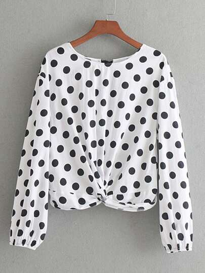 Tie Back Twisted Detail Polka Dot Blouse