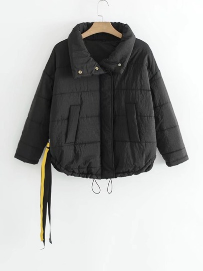Short Padded Coat With Strap