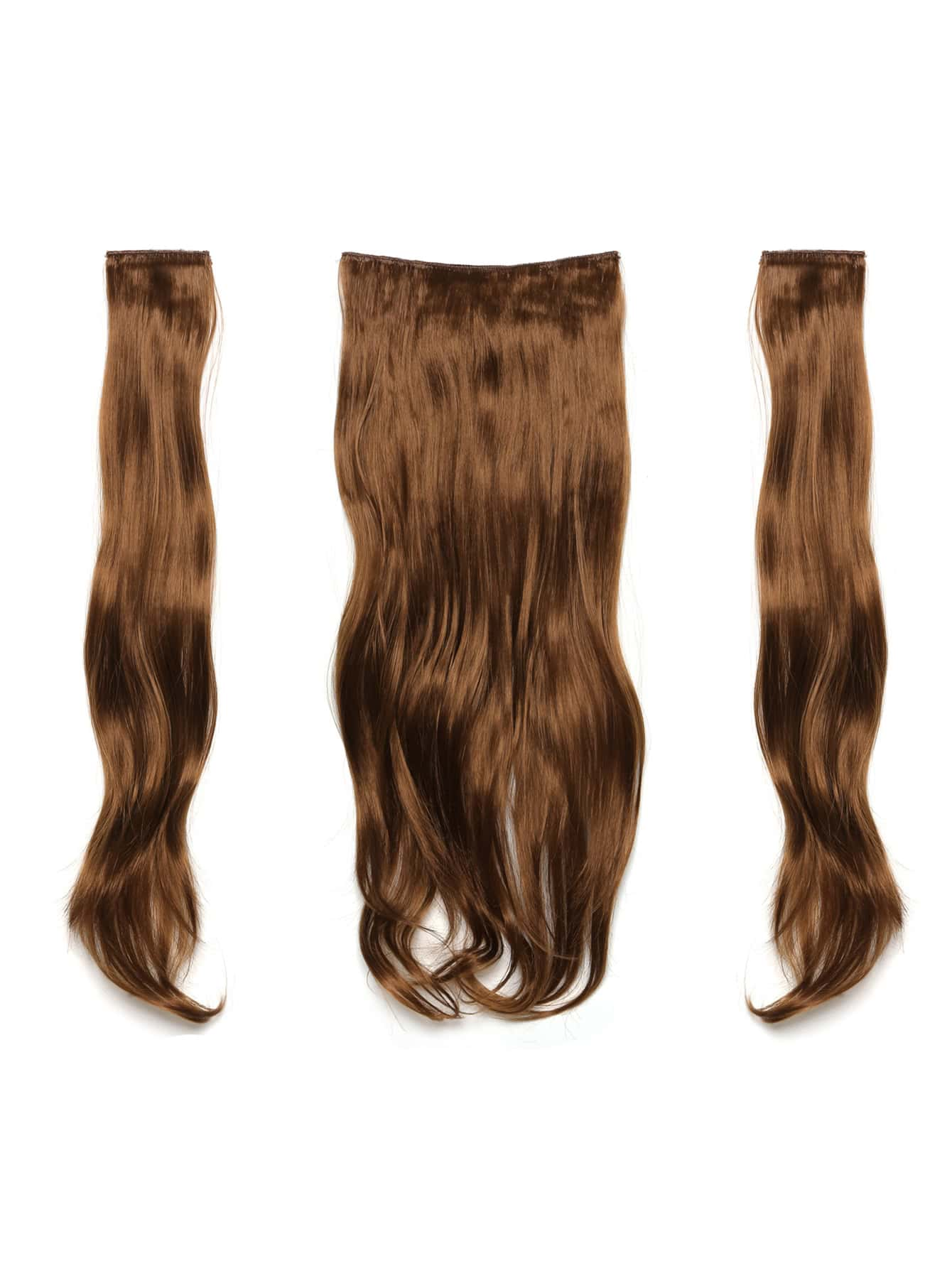 цена на Golden Brown Clip In Soft Wave Hair Extension 3pcs